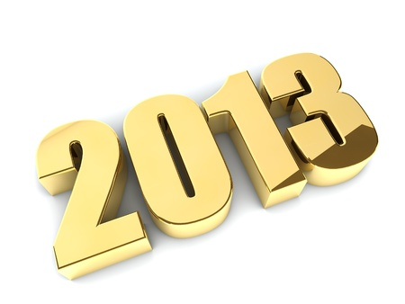 3D 2013 year golden figures with shadow Stock Photo - 19703568