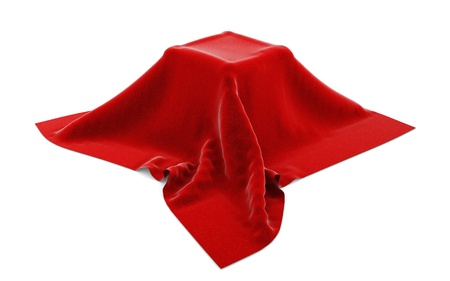 Box hidden under red velvet cloth isolated on white