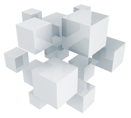 3D cubes composition isolated on white background. photo