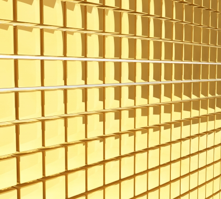 Golden cubes glossy wall background. photo