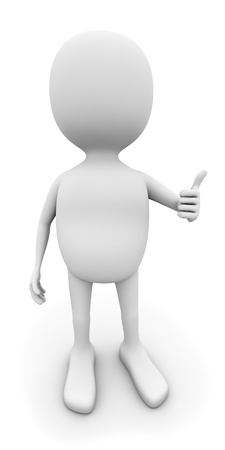 3D white man with thumb up isolated on white background. photo