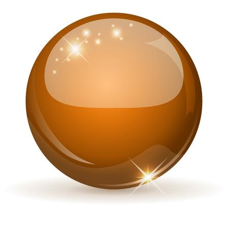 Orange glossy sphere isolated on white Stock Vector - 19883952