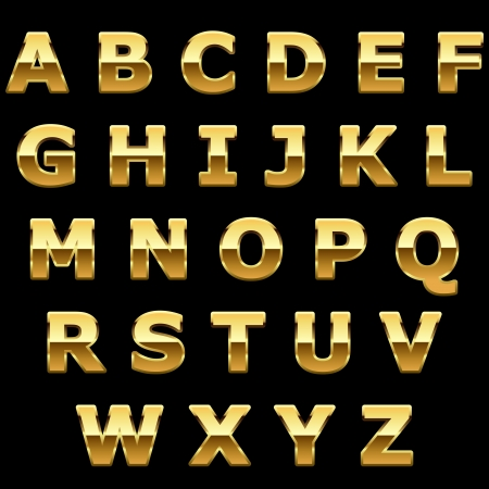 bright alphabet: Golden metallic shiny letters isolated on black background.