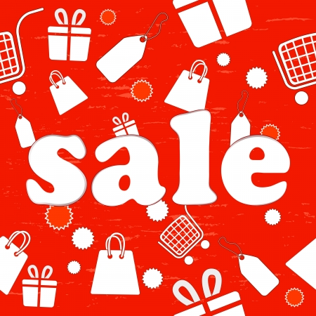 Red seamless sale background with shopping items  Vector