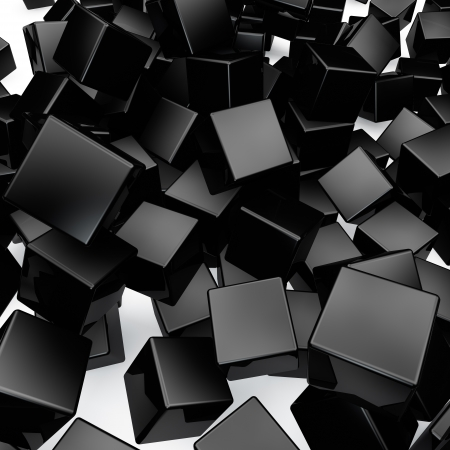 Falling 3D black rounded cubes background  photo