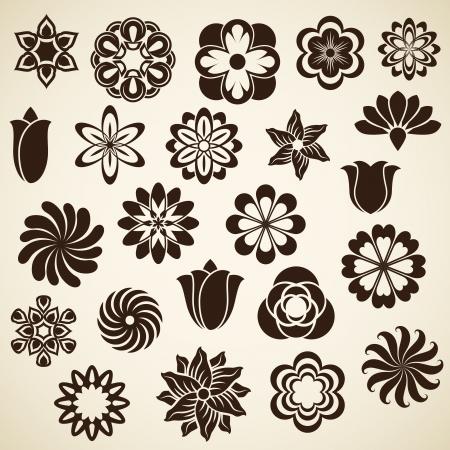 outline flower: Vintage flower buds vector design elements isolated on white background   Set 2  Illustration