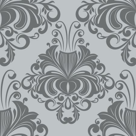 Seamless ornate vintage gray vector wallpaper pattern  Vector