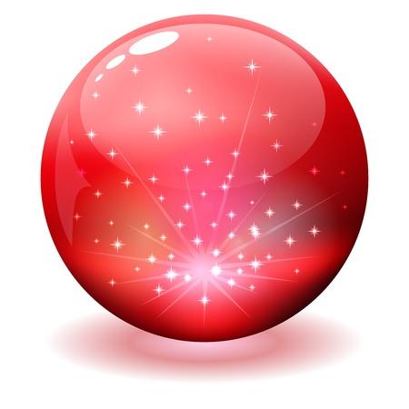 red sphere: Sfera lucida rossa con scintille all'interno isolati su bianco Vettoriali