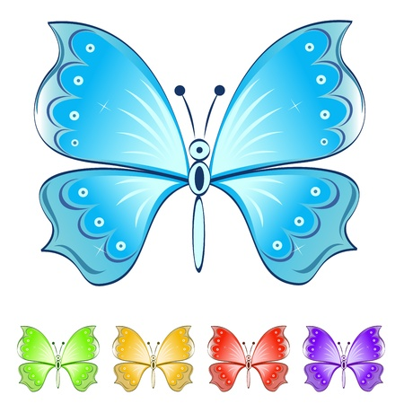Color butterflies vector set isolated on white background  Vector