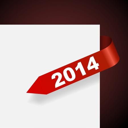 2014 年図ベクトル イラストと赤色の紙ラベル