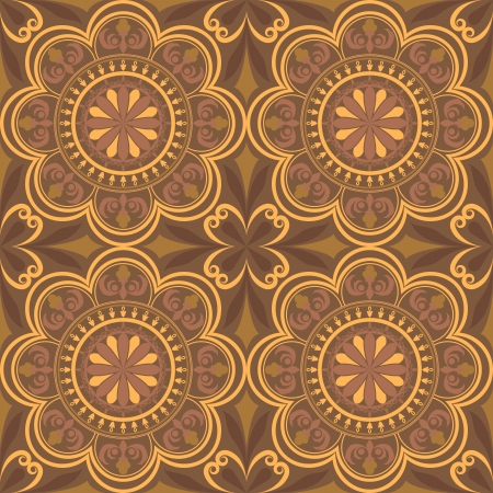 retro circles: Seamless brown abstract ornamental flower buds vector pattern