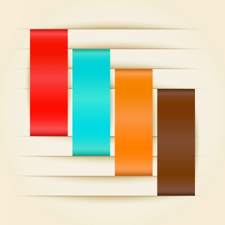 Color paper stripes inserted in paper cut vector illustration Stock Vector - 21580476