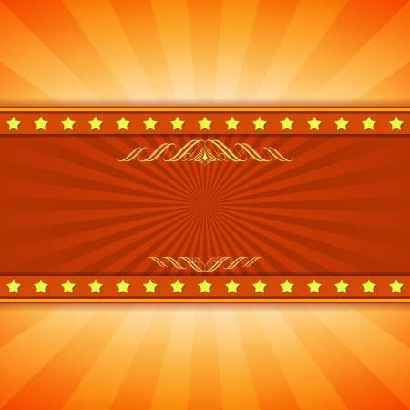 movie poster: Yellow and red entertainment ray burst vector background with copy space  Illustration