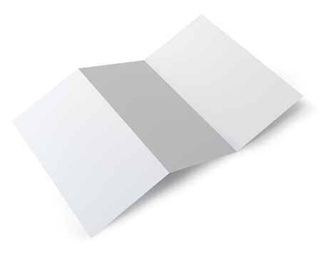 Blank folding one page booklet isolated on white background Stock Photo - 21953651