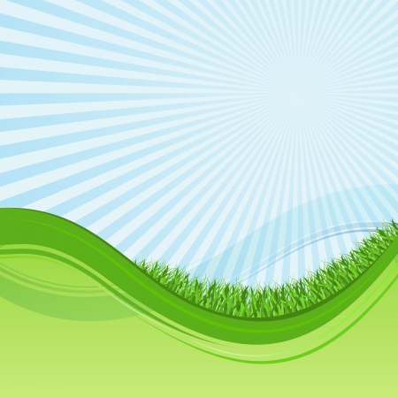 Abstract green and blue wavy background with grass and sunburst  Vector