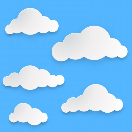 Paper clouds template isolated on blue background Stock Vector - 21953660