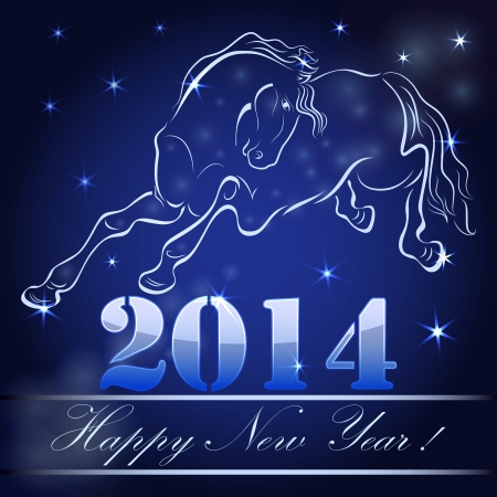 New 2014 year card with horse outline  Vector