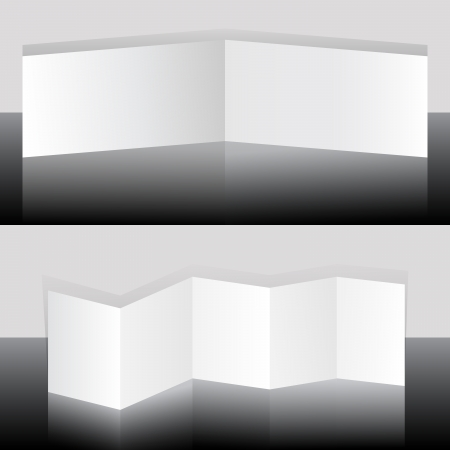 White blank folding booklets vector template   イラスト・ベクター素材
