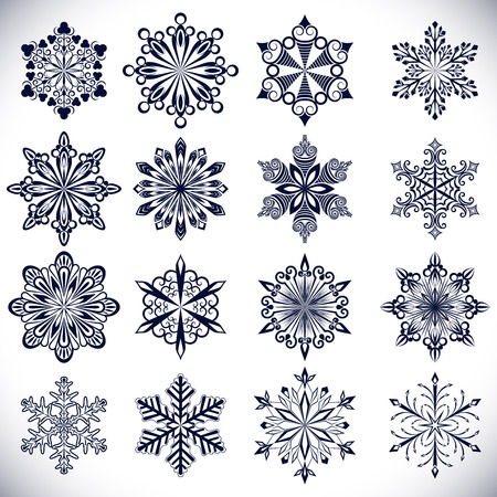 Ornate snowflake shapes isolated on white background  Vector