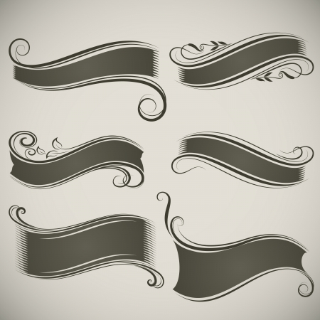 curved ribbon: Abstract vintage banner shapes vector template  Illustration