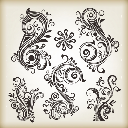Floral vintage swirly design elements isolated on beige background  Set 26