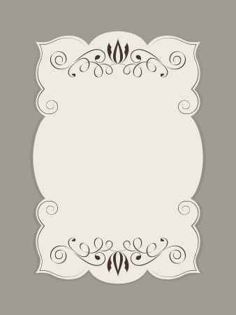 Blank figured card with floral ornament vector illustration. Vector