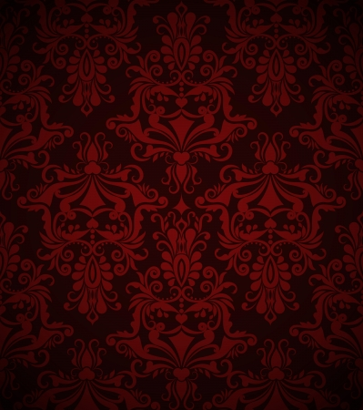 crimson: Seamless dark red vintage vector wallpaper pattern  Illustration