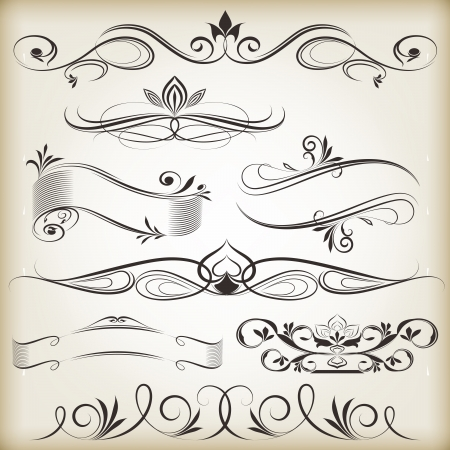 Vintage calligraphic vector design elements isolated on beige background