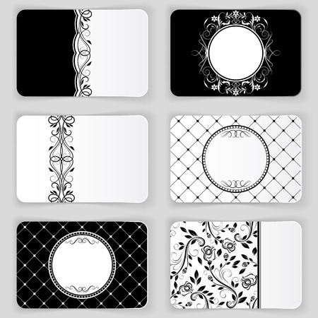 carte: Black and white vintage business cards vector template