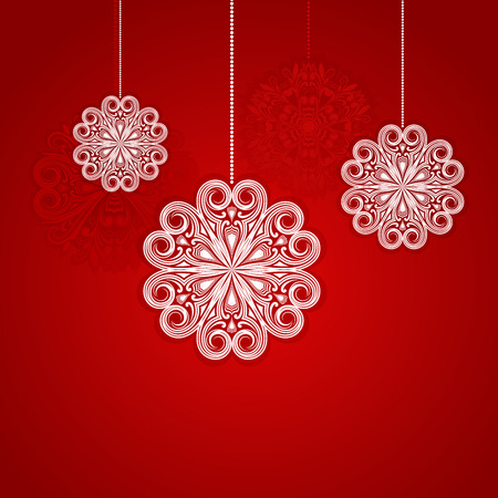 Christmas red background with hanging ornamental snowflake shapes. Vector