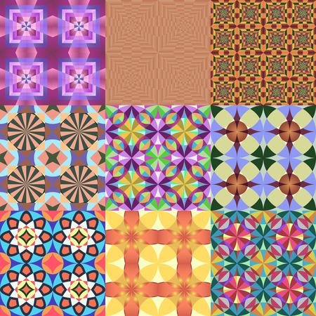 dark beige: Set of 9 seamless colorful geometric vector patterns