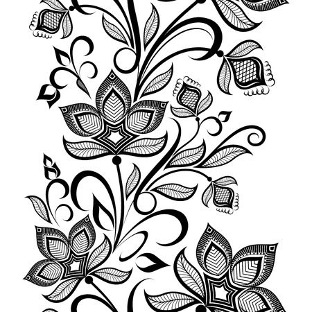 black and white leaf: Seamless black and white floral vintage vertical vector pattern  Illustration