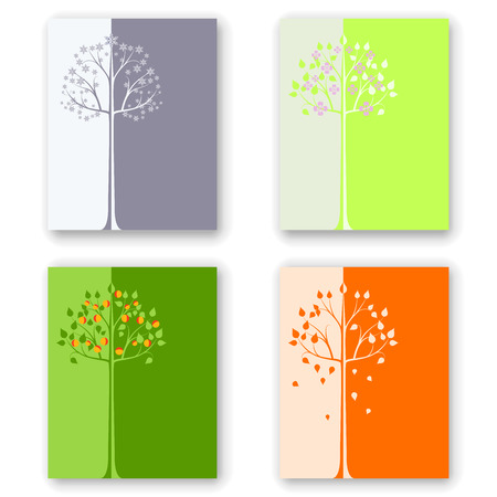 vertical dividers: Seasonal colorful cards vector design with the tree