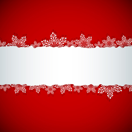 Christmas banner with white copy space with cut snowflake shapes vector template  Vector