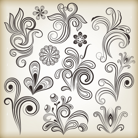 Floral vintage vector design elements isolated on beige background  Set 28  Vector