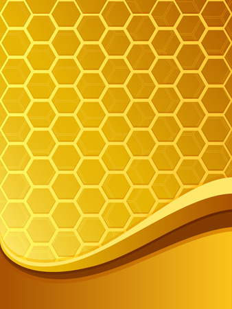 honeyed: Abstract yellow bee comb background with copy space