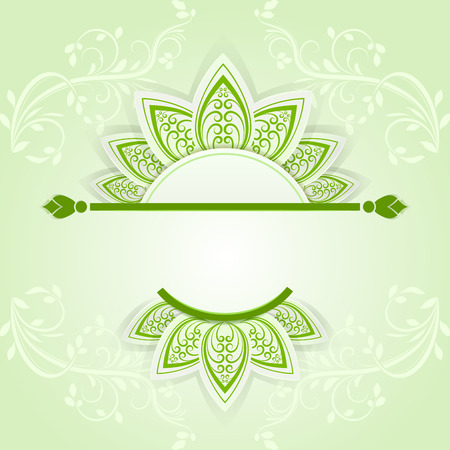 cut flowers: Green spring banner with paper flower petals vector template
