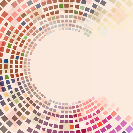 concentric: Circular colorful squares background with copy space. Illustration