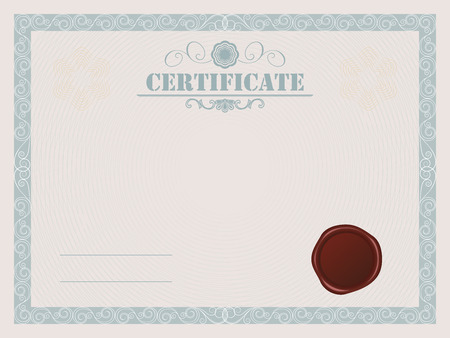 Certificate Blank Template With Wax Seal Royalty Free Cliparts