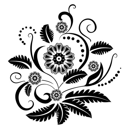 fleuron: Black and white floral design element isolated on white background.