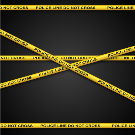 csi: Police line yellow tape template with dark background.