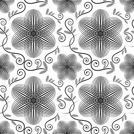 Black and white floral wallpaper pattern. Vector