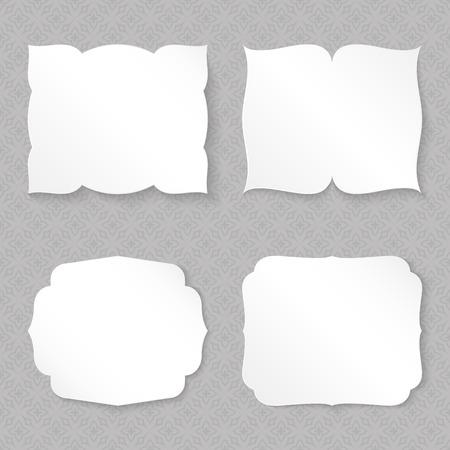figured: Blank figured paper cards set template. Illustration