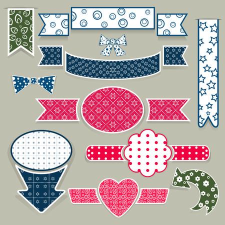 Set of plain paper cut design elements. Vector