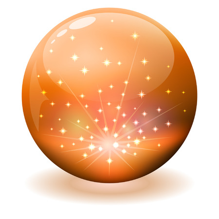 Glossy orange sphere with sparks inside. Vector