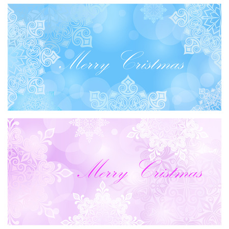 Merry Christmas card vector template with snowflakes. Vector