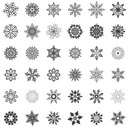 copo de nieve: Copo de nieve formas abstractos aislados sobre fondo blanco.