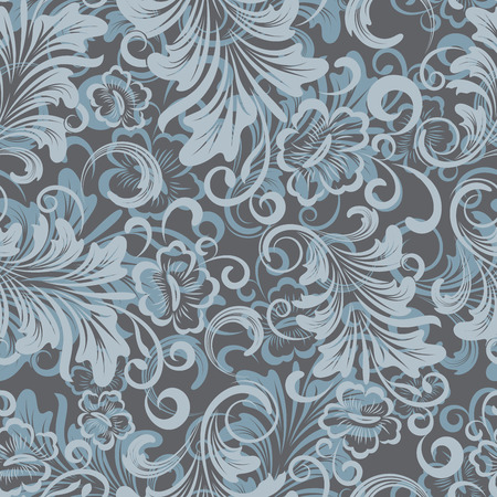 Winter blue floral wrapping paper vector pattern.