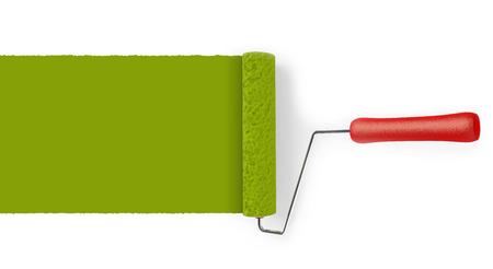 Paint roller with trace isolated on white background.