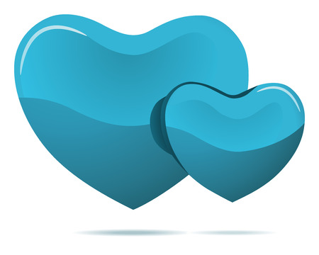 duet: Two cyan hearts isolated on white vector illustration.